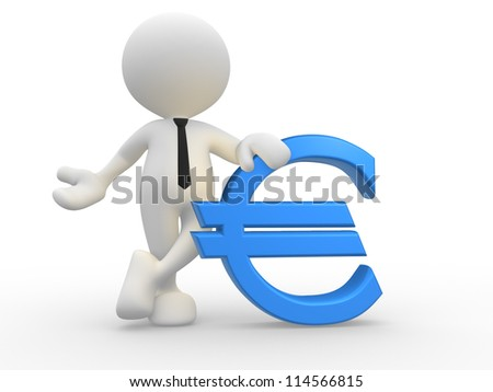 3d people - man, person with euro icon. - stock photo