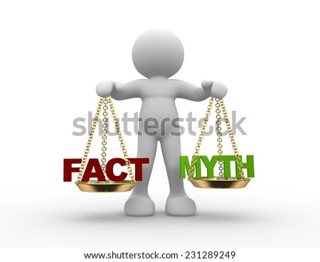 3d people - man, person with  facts and myth on scale.  - stock photo