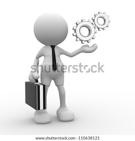 3d people - man, person with gear mechanism. Businessman