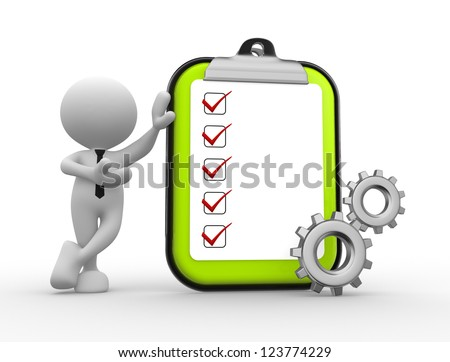 3d people - man, person with gear mechanism. Clipboard with checklist. - stock photo