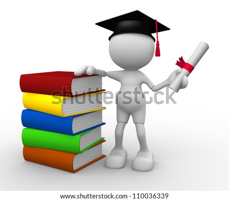 3d people - man, person with graduation and books - stock photo
