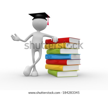 3d people - man, person with graduation and books. - stock photo
