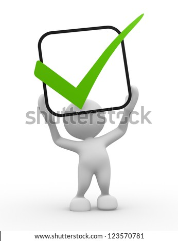 3d people - man, person  with green check mark in box. - stock photo