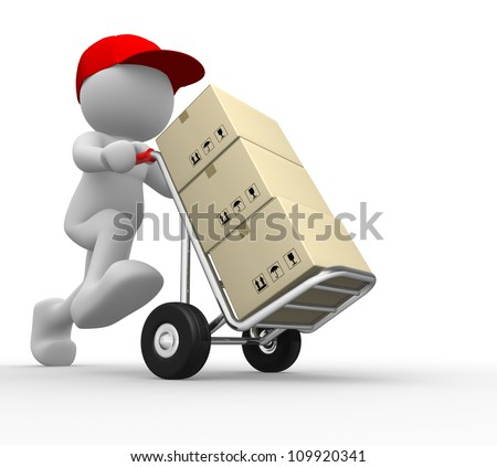 3d people - man, person with  hand trucks and packages. Postman - stock photo