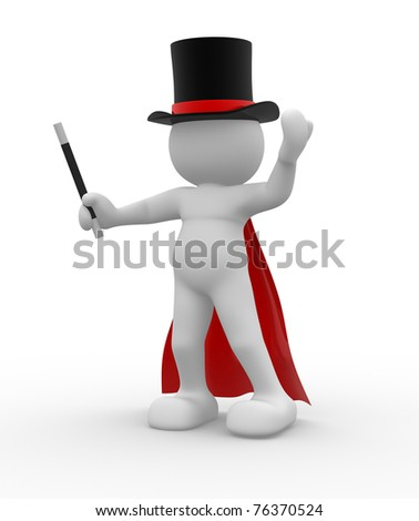 3d people - man, person with hat and wand. Magician - stock photo