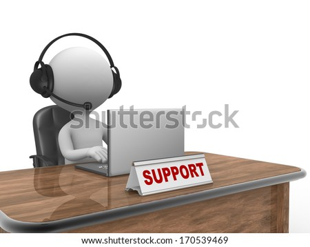 3d people - man, person with headphone and a laptop. Support - stock photo