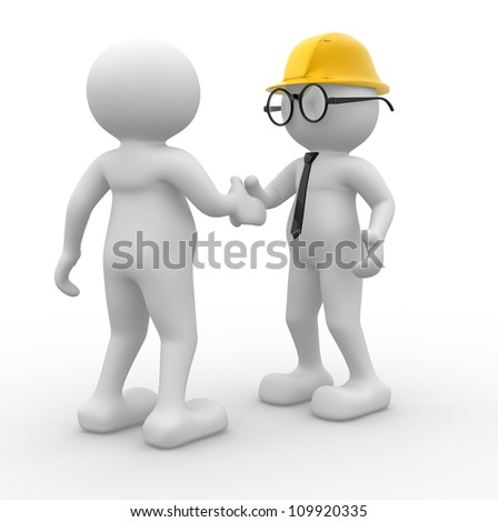 3d people - man, person with helmet. Builder and buy. Concept of deal - stock photo