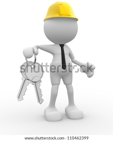 3d people - man, person with keys in hand. Builder engineer