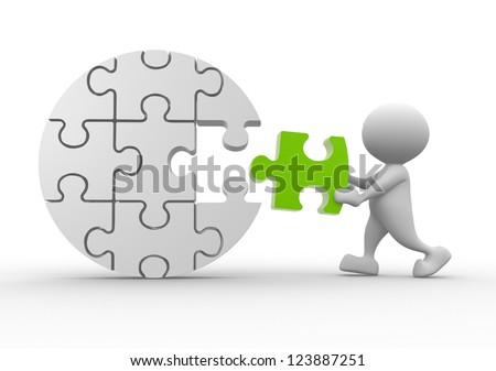 3d people - man, person with last  pieces of puzzle - stock photo