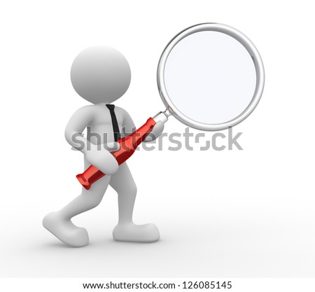 3d people - man, person  with magnifying glass - stock photo