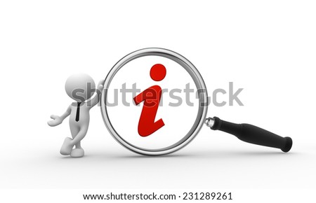 3d people - man, person with magnifying glass and red information icon  - stock photo