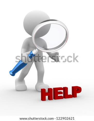 """3d people - man, person with magnifying glass and word """"HELP"""". Search concept - stock photo"""