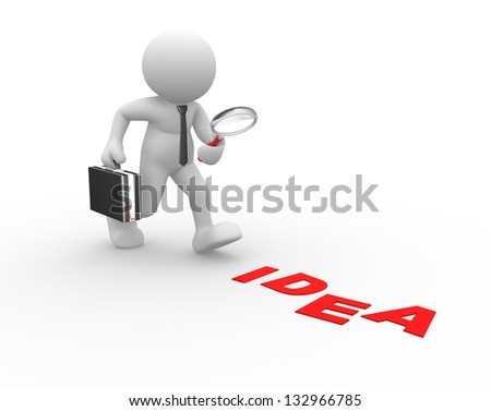 "3d people - man, person with magnifying glass and word ""idea"". - stock photo"