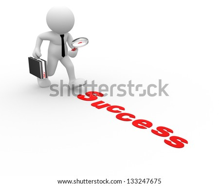 3d people - man, person with magnifying glass and word success - stock photo