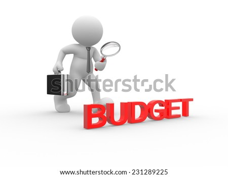3d people - man, person with magnifying glass. Budget - stock photo