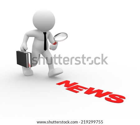 3d people -man, person with magnifying glass. News concept - stock photo