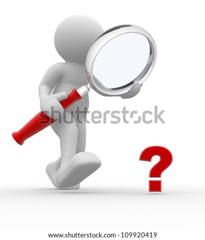 3d people - man, person with magnifying glass question mark red search. - stock photo