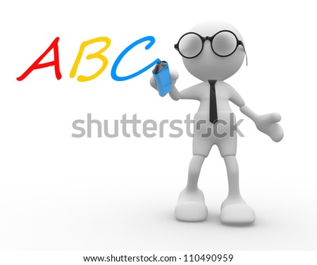 """3d people - man, person with marker and """"ABC"""" - stock photo"""