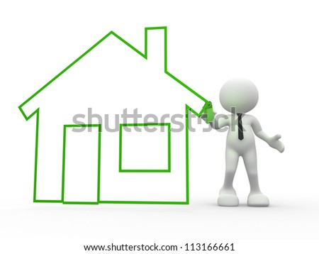 3d people - man, person with marker and drawn house. - stock photo