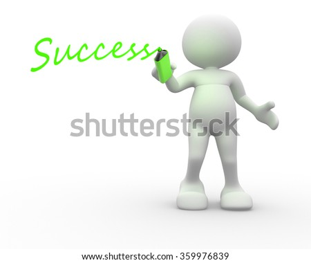 "3d people - man, person with marker and word ""success"" - stock photo"