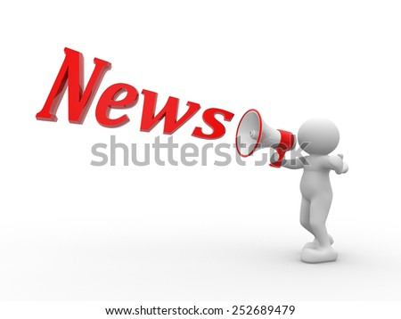 3d people - man, person with megaphone. News concept - stock photo