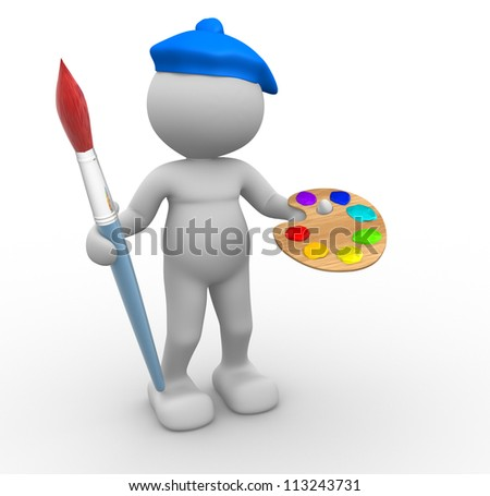3d people - man, person with paintbrush. Painter - stock photo