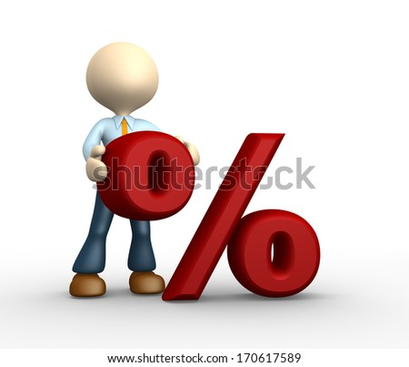 3d people - man, person with percent sign . %. Concept of discount.