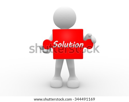 3d people - man , person with piece of puzzle. Solution concept