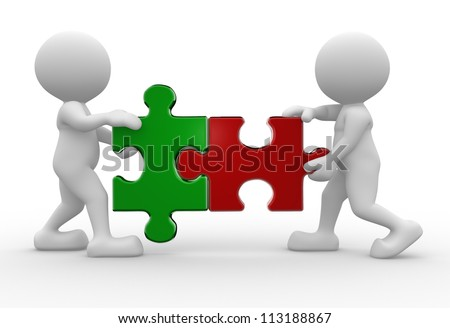 3 D People Man Person Pieces Jigsaw Stock Illustration 113188867