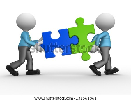 3d people - man, person with pieces jigsaw puzzle - stock photo