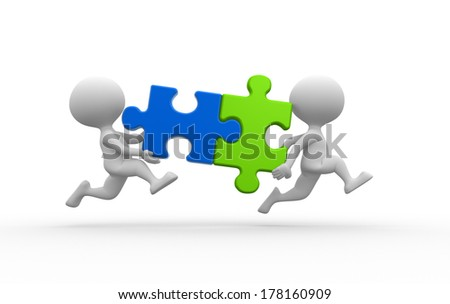 3d people - man, person with pieces jigsaw puzzle