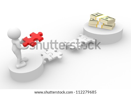 3d people - man, person with pieces of puzzle and a stack of dollars - stock photo