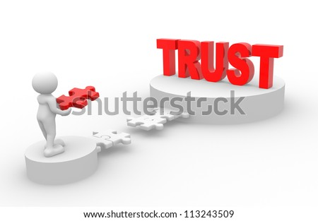 3d people - man, person with pieces of puzzle. Trust - stock photo