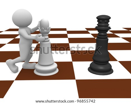3d people - man, person with queen and king on a chessboard - stock photo