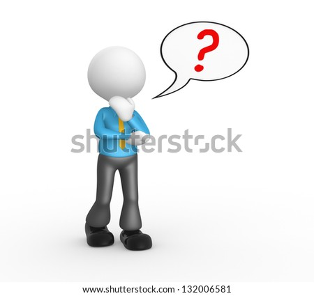 3d people - man, person with question mark in speech bubble - stock photo