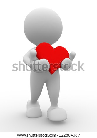 3d people - man, person with red a heart. Take my heart