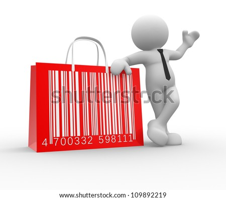 3d people - man, person with shopping bag and barcode ( bar code ). - stock photo