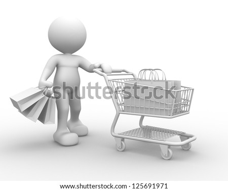 3d people - man, person with shopping cart and bags - stock photo