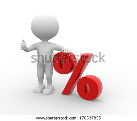 3d people - man, person with sign percent. %. The discount offer  - stock photo
