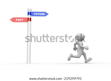 "3d people - man, person with signs with ""PAST"" and ""FUTURE"" pointing in opposite directions. Confused - stock photo"