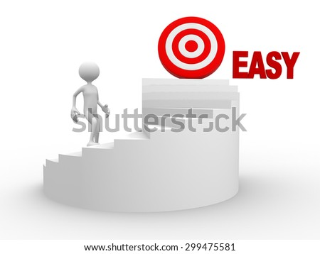 3d people - man, person with stair and word easy. Target concept - stock photo