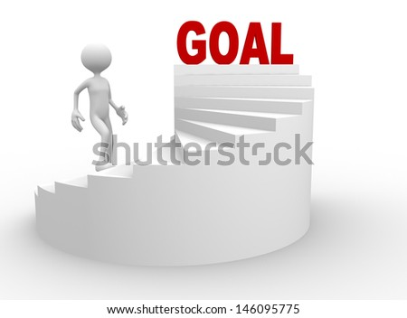 3d people - man, person with stair and word goal - stock photo