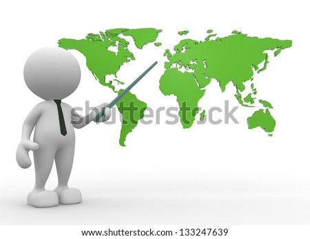 3d people - man, person with the world map - stock photo