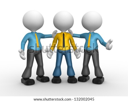 3d people - man, person with tie - He's the man . Businessman - stock photo