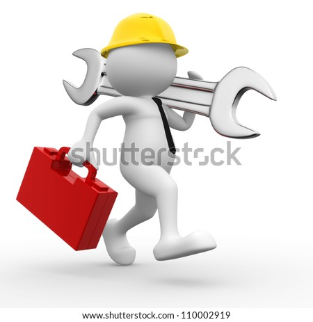3d people - man, person with toolbox and wrench. Engineer - stock photo