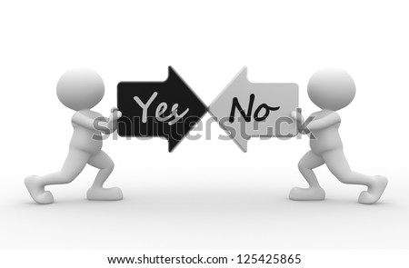 3d people - man, person with two arrows. Yes or no - stock photo