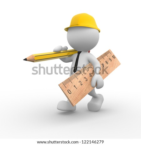 3d people - man, person with wooden pencil and ruler. Builder - stock photo