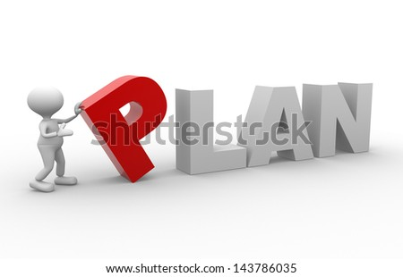 3d people - man, person with word PLAN - stock photo