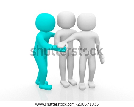 3d people - man together. Business team joining hands concept. 3d render