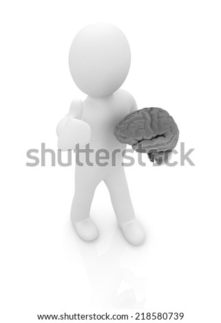 3d people - man with a brain - stock photo